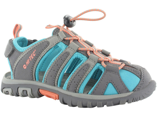 Hi-Tec Cove Sandals Juniors Cool Grey/Curacao Blue/Papaya Punch